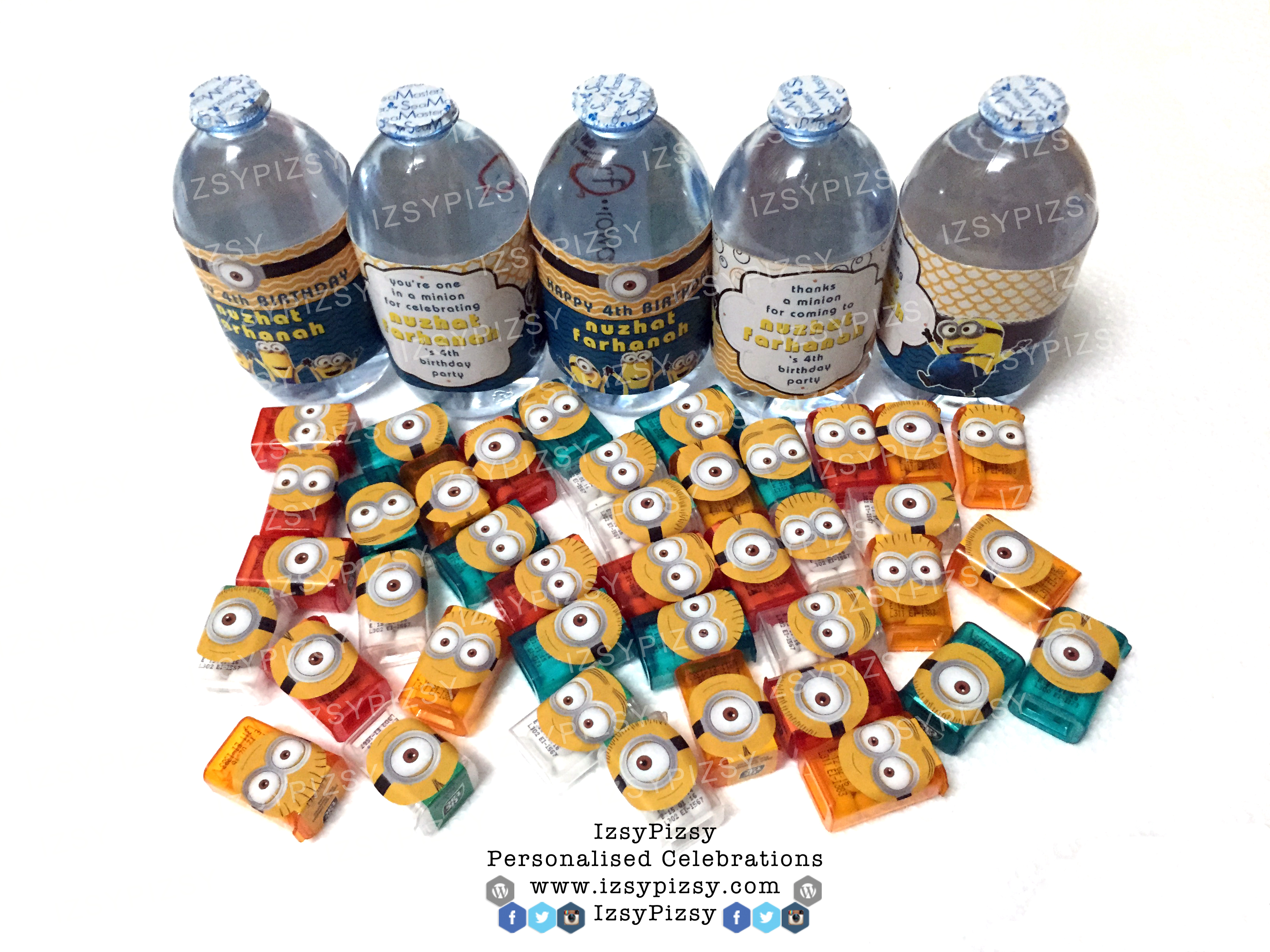 minion despicable me banana bob stuart kevin birthday party aqiqah baby bridal shower water bottle tictac candy buffet wrapper photobooth doorgift murah malaysia party