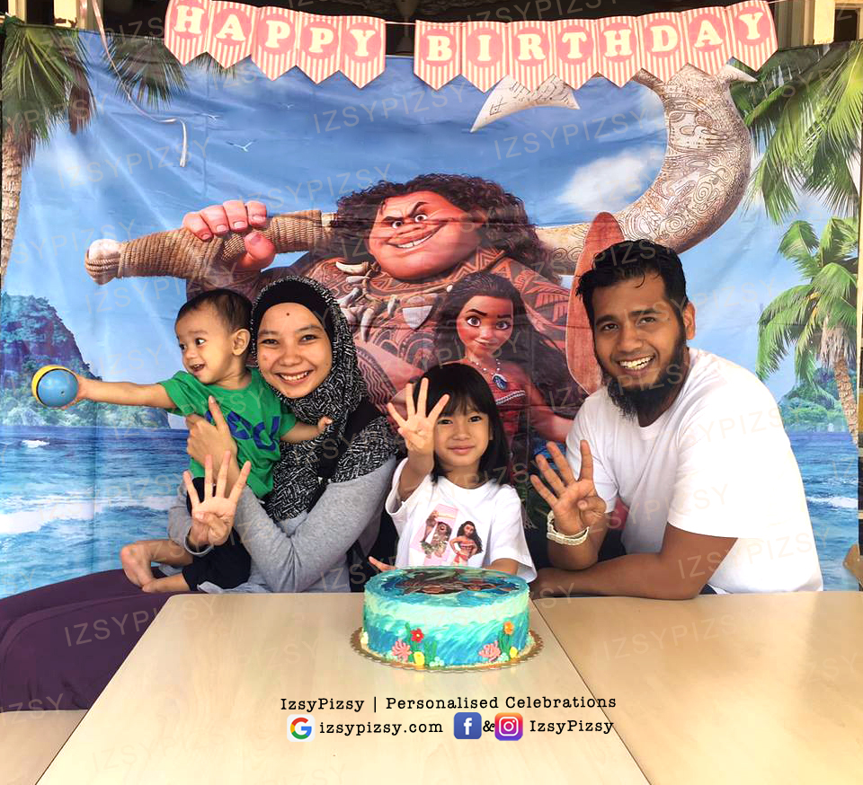 moana birthday party theme ideas supplies decorations tshirt printing backdrop banner bunting sewa rent malaysia murah copy