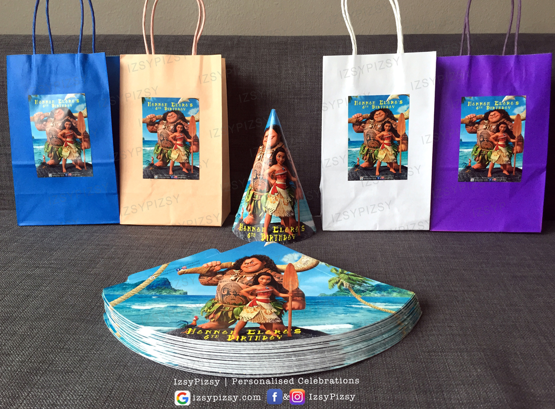 moana goodie bag paperbag favour doorgift cone hat birthday theme ideas supplies decorations malaysia printables murah small