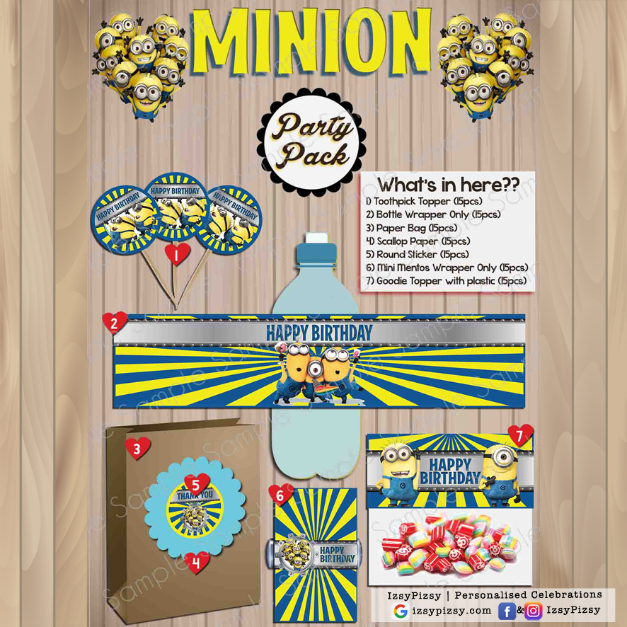 minions movie despicable me banana theme kids birthday party supplies decorations ideas bags invitations favors hat balloons toys malaysia