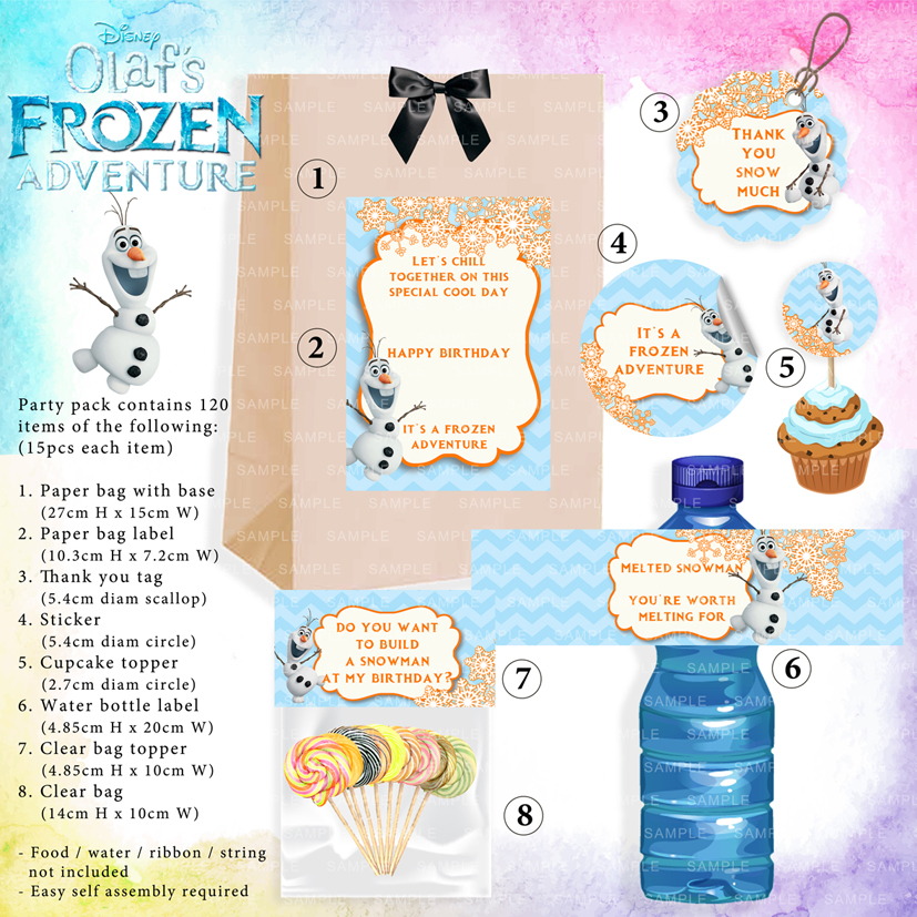 olaf frozen anna elsa theme kids birthday party supplies decorations ideas bags invitations favors hat balloons toys malaysia