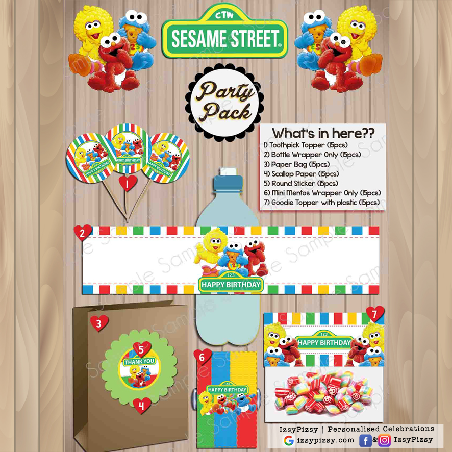 sesame street elmo cookie monster big bird theme kids birthday party supplies decorations ideas bags invitations favors hat balloons toys malaysia