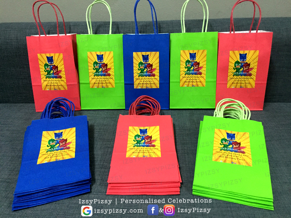 pj masks video catboy characters owlette gecko theme kids birthday party supplies decorations ideas goodie bags invitations favors hat water bottle labels cupcake topper sticker toys malaysia