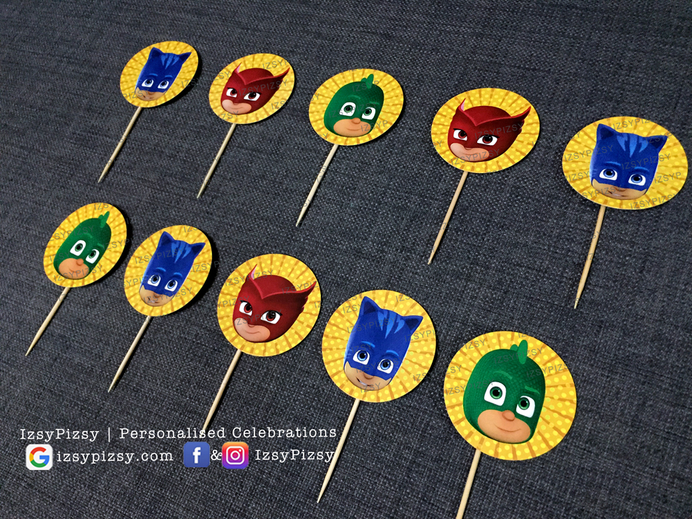 pj masks video catboy owlette characters gecko theme kids birthday party supplies decorations ideas goodie bags invitations favors hat water bottle labels cupcake topper sticker toys malaysia
