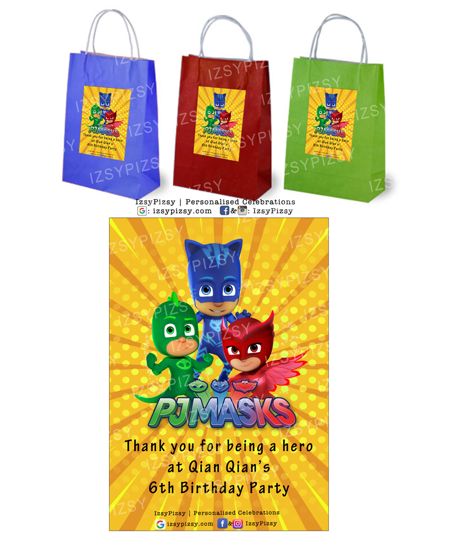 pj masks video characters catboy owlette gecko theme kids birthday party supplies decorations ideas goodie bags invitations favors hat water bottle labels cupcake topper sticker toys malaysia