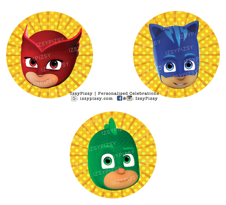 pj masks video headquarters catboy owlette gecko theme kids birthday party supplies decorations ideas goodie bags invitations favors hat water bottle labels cupcake topper sticker toys malaysia