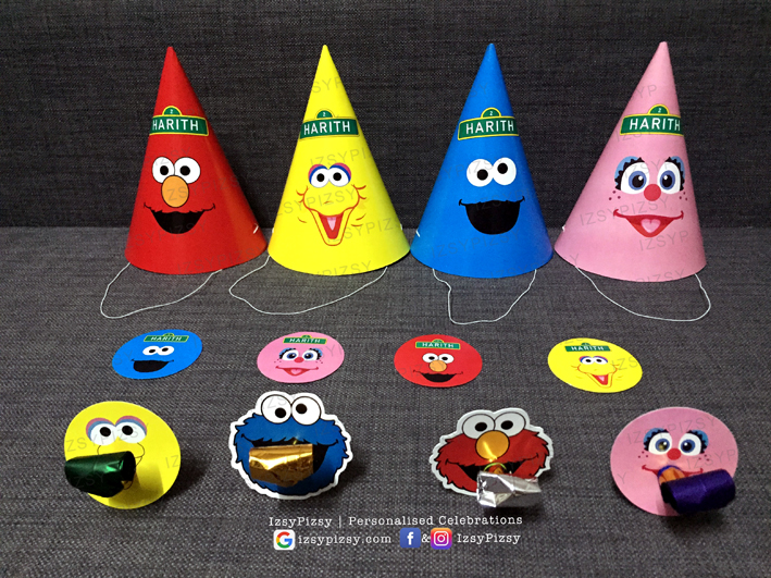 sesame street elmo cookie monster big bird theme birthday party bert ernie the count oscar grouch kids toys movie hat sticker blow out invitation supplies printables malaysia