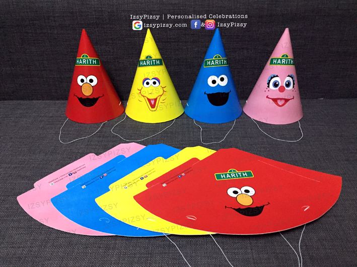 sesame street elmo cookie monster big bird theme birthday party bert ernie the count oscar grouch kids toys movie hat sticker invitation supplies printables malaysia