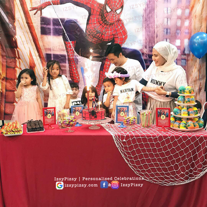 spiderman backdrop banner bunting tarpaulin rental sewa cheap murah malaysia kids birthday party ideas decorations