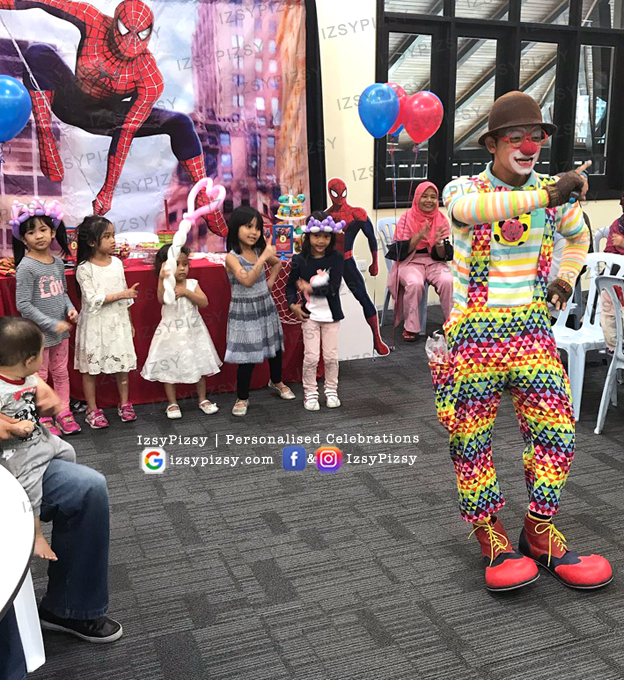 spiderman backdrop clown magician banner bunting tarpaulin rental sewa cheap murah malaysia kids birthday party ideas decorations