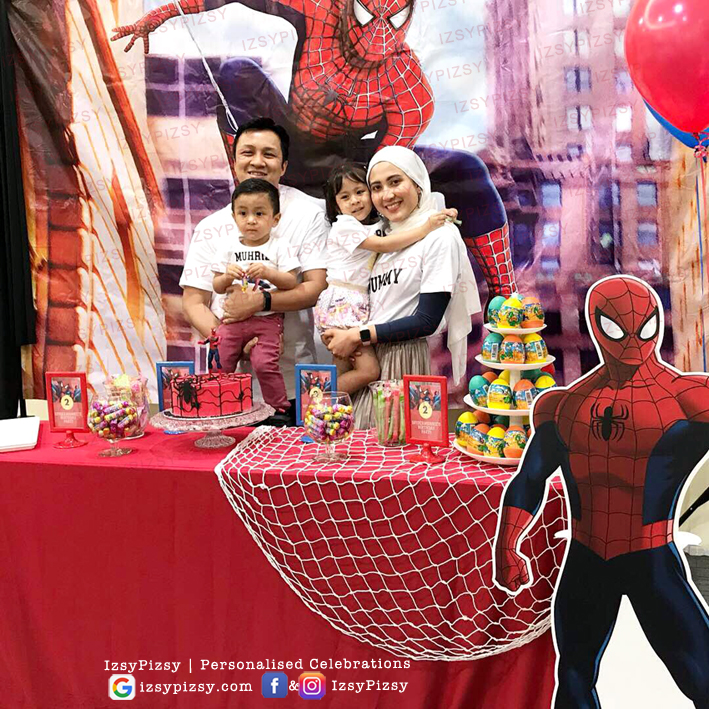 spiderman candy buffet dessert table backdrop banner bunting tarpaulin rental sewa cheap murah malaysia kids birthday party ideas decorations
