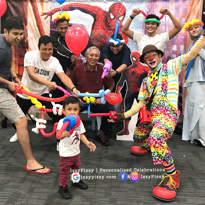 spiderman movie costume toys hat candy buffet clown balloon backdrop banner bunting tarpaulin rental sewa cheap murah malaysia kids birthday party ideas decorations