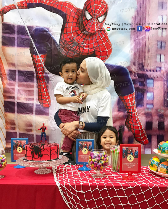spiderman movie toys hat candy buffet dessert table backdrop banner bunting tarpaulin rental sewa cheap murah malaysia kids birthday party ideas decorations