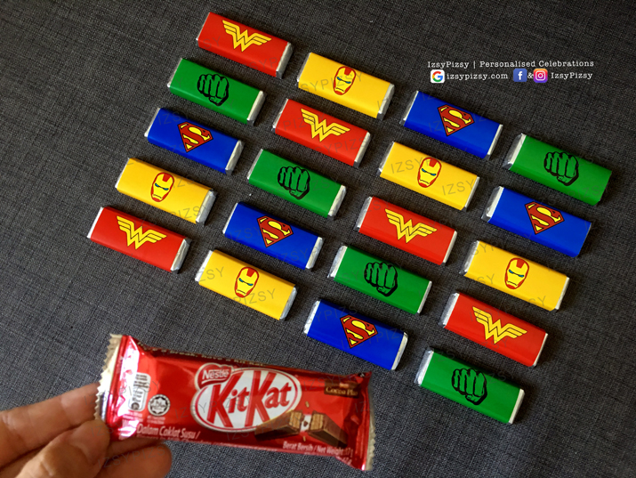 superhero dc marvel costume game candy buffet dessert chocolate wrapper kitkat kids birthday party ideas decorations invitations favor supplies batman superman spiderman wonderwoman hulk