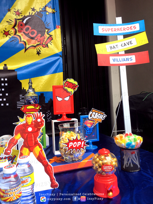 superhero dc marvel costume game candy buffet dessert food menu popcorn kids birthday party ideas decorations invitations favor supplies batman superman spiderman wonderwoman hulk