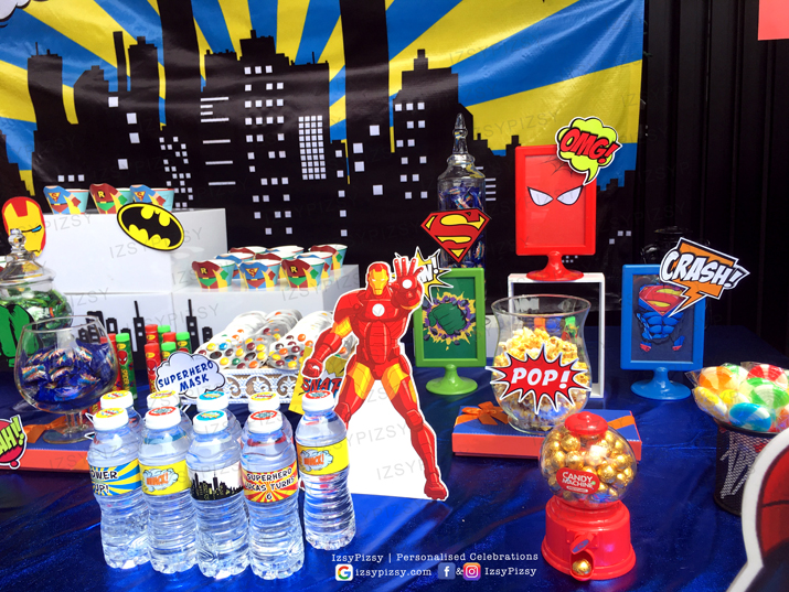 superhero dc marvel costume game kids birthday party ideas decorations invitations favor supplies batman wonderwoman hulk candy buffet