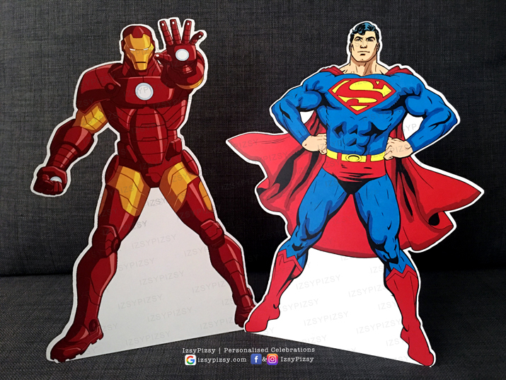 superhero dc marvel costume game kids birthday party ideas decorations invitations favor supplies cut out standee figurine batman superman ironman