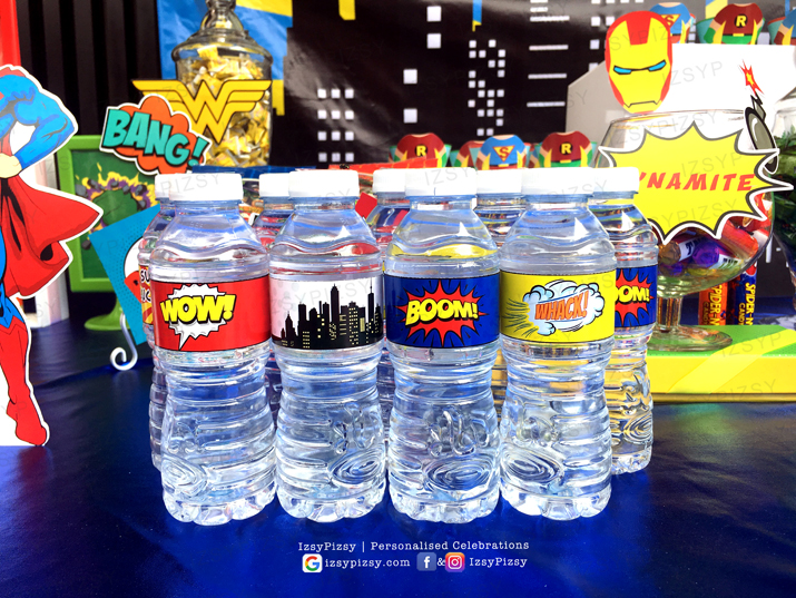 superhero dc marvel costume game kids birthday party ideas decorations invitations favor supplies water bottle wrapper custom batman superman avengers wonderwoman
