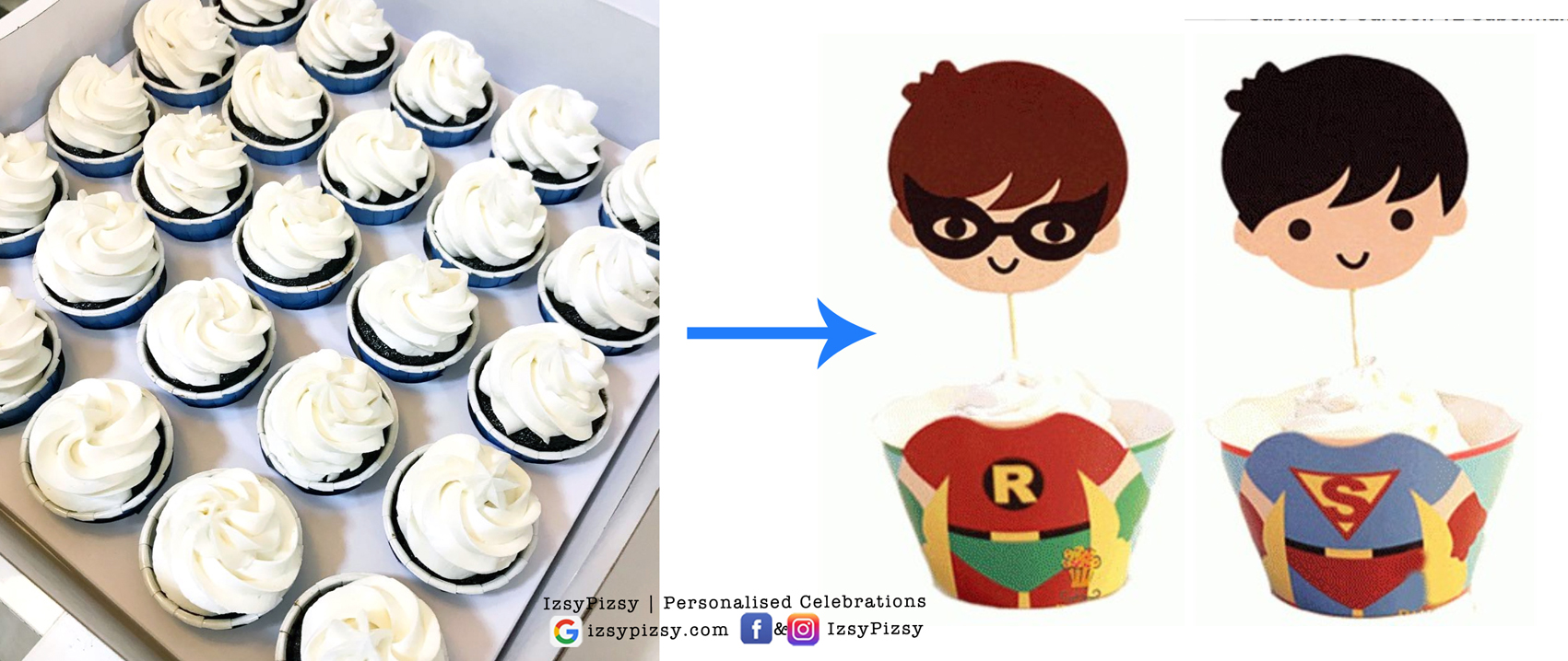 superheroes customised cupcake wrapper topper cute characters