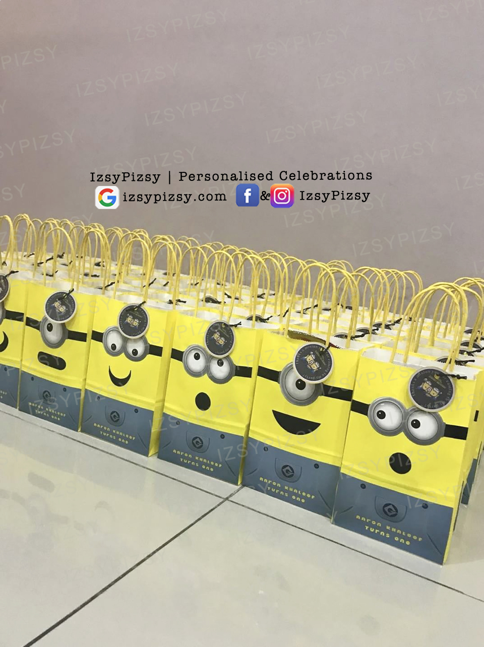 minion cute party goodie bags favor ideas DIY goggle eyes sticker kids birthday