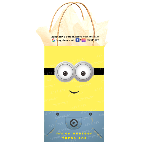 minions kids birthday party goodie bag ideas yellow paper goggle eyes stickers blue overall DIY printables