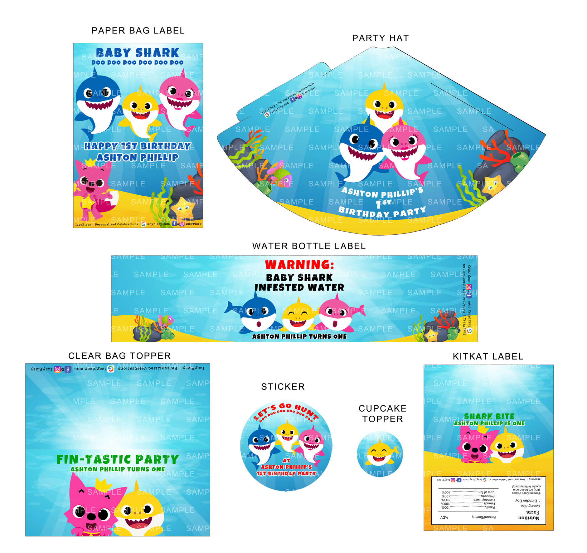 Baby Shark Doo Custom Party Printables Name Age Kids Birthday Ideas Decorations Invitation Hat