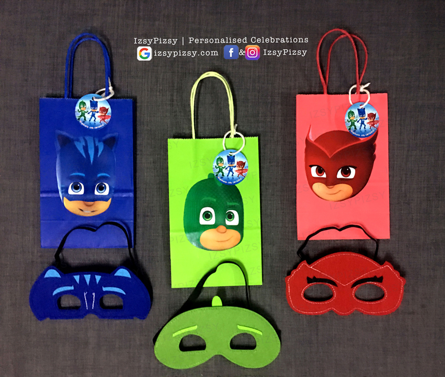pj masks goodie bag party supply ideas Connor Catboy Amaya Owlette Greg Gekko cape felt eye mask facemask birthday printables doorgift paperbag kl malaysia