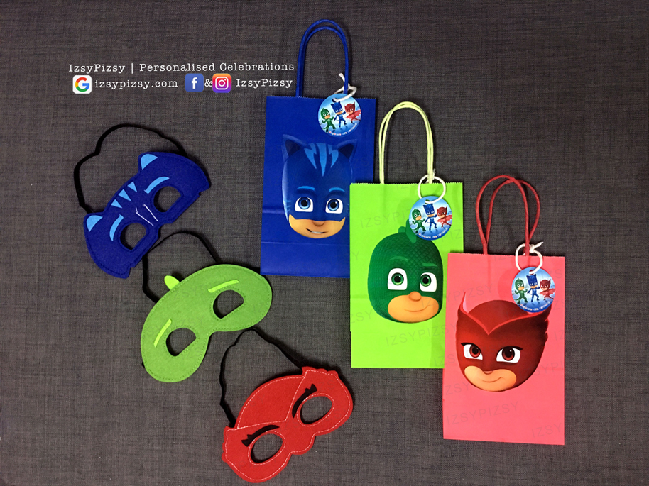 pj masks goodie bag party supply malaysia Connor Catboy Amaya Owlette Greg Gekko cape felt eye mask facemask birthday printable doorgift paperbag