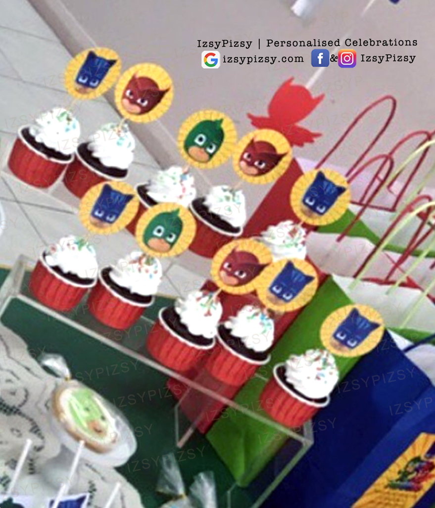 PJ Masks cupcake toppers themed birthday party supplies customise personalise invitation hat boy movie tv series episode owlette gekko catboy lollipop malaysia