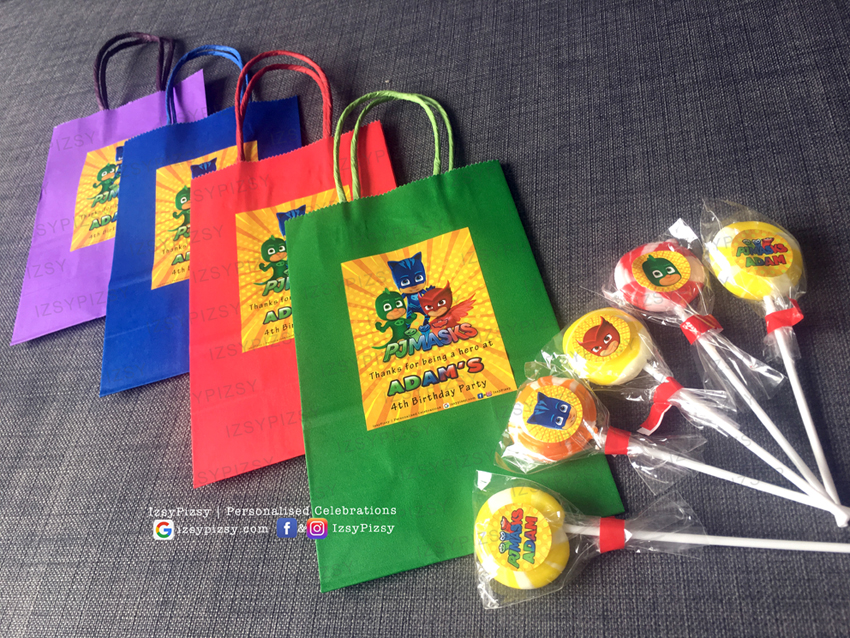 PJ Masks goodie bags themed birthday party supplies customise personalise invitation hat boy movie tv series episode owlette gekko catboy lollipop malaysia