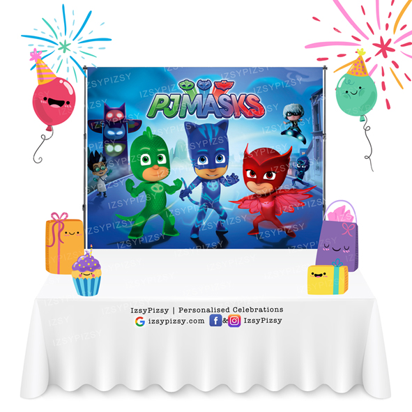 PJ Masks themed birthday party supplies customise personalise invitation hat boy movie tv series episode owlette gekko catboy backdrop banner scene setter photobooth prop murah malaysia