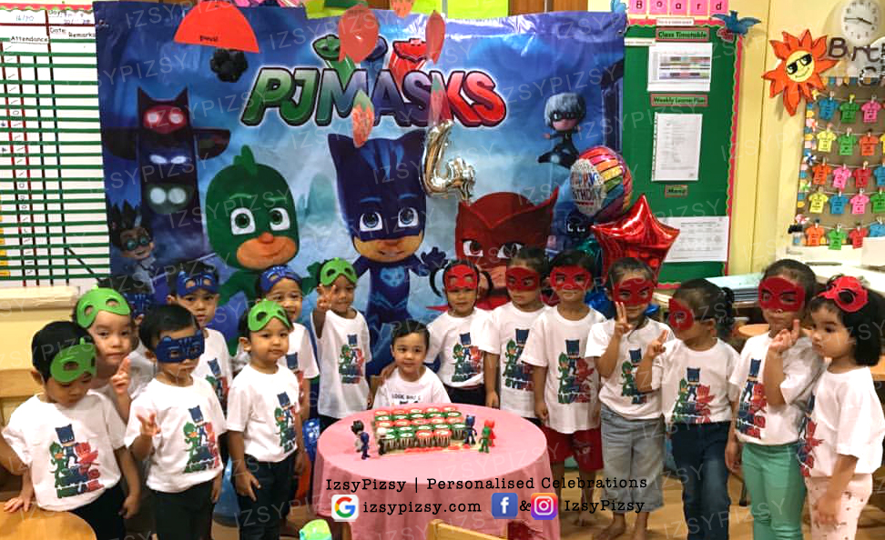 PJ Masks themed birthday party supplies customise personalise invitation hat boy movie tv series episode owlette gekko catboy backdrop banner scene setter shirt costume mask malaysia