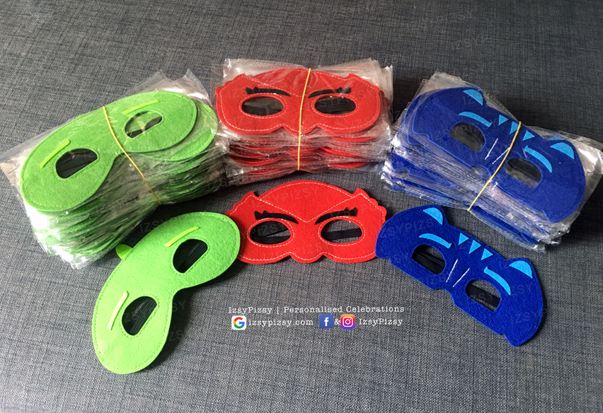 PJ Masks themed birthday party supplies customise personalise invitation hat boy movie tv series episode owlette gekko catboy felt face mask costume shirt cosplay malaysia