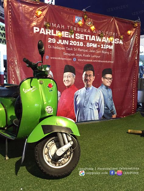 raya decoration ideas props supply photobooth backdrop banner kampung ketupat lemang pelita buluh periuk kawah rumput grass malaysia kl sewa rent vespa murah