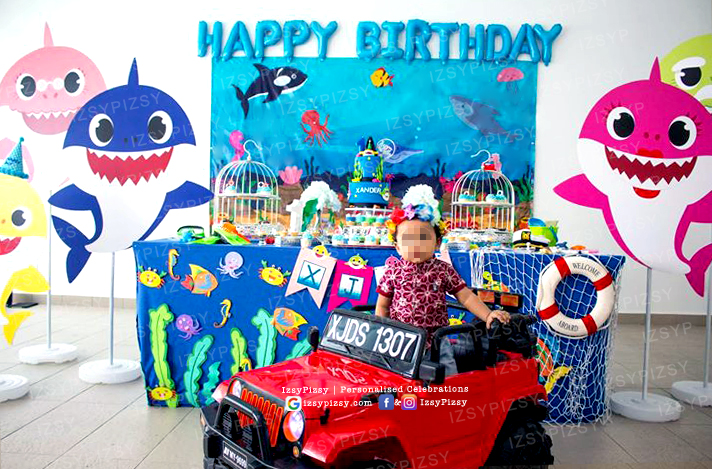 baby shark theme birthday party DIY set up sewa props banner standee decoration candy buffet dessert table set up malaysia kl murah planner