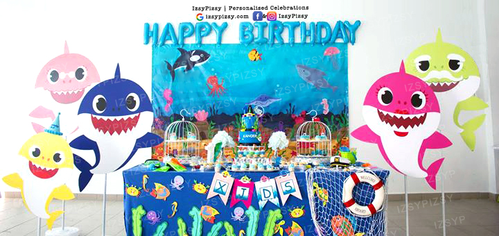 baby shark theme birthday party DIY set up sewa props banner standee decorations prop candy buffet dessert table set up malaysia kl murah planner